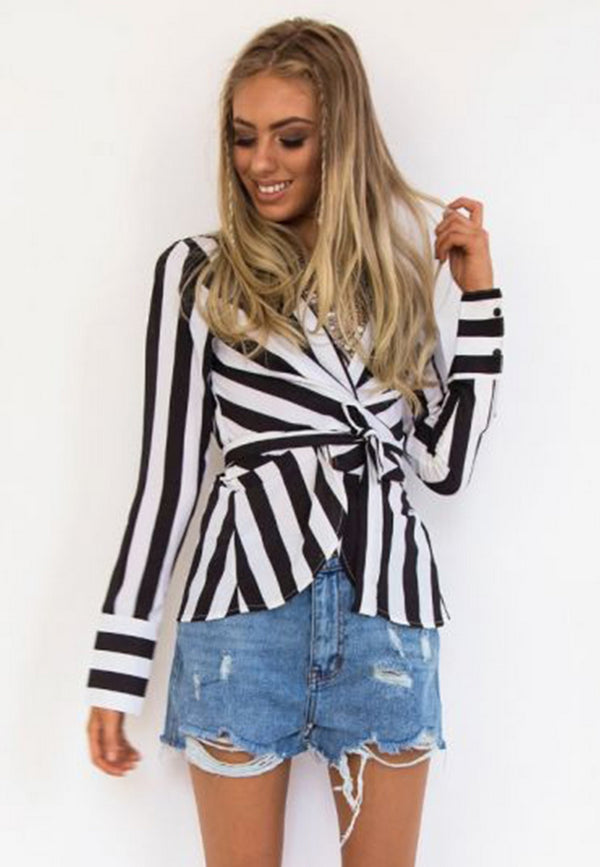 Front Tie Black Striped Blouse
