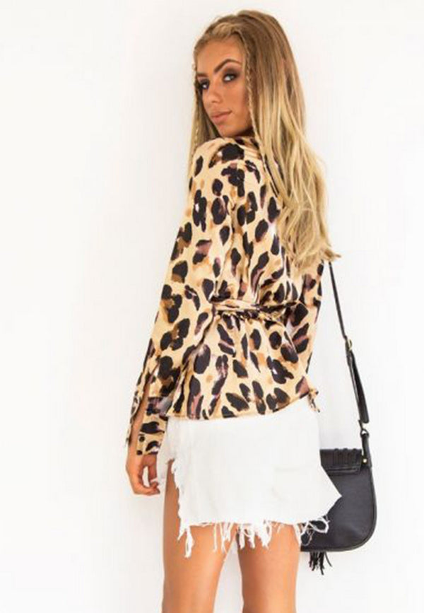 Front Tie Animal Print Blouse
