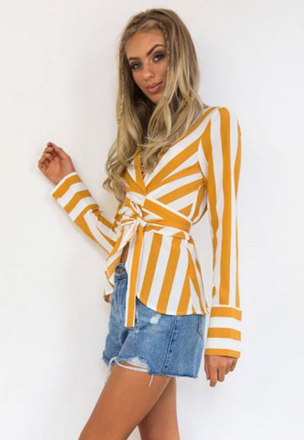 Front Tie Yellow Striped Blouse