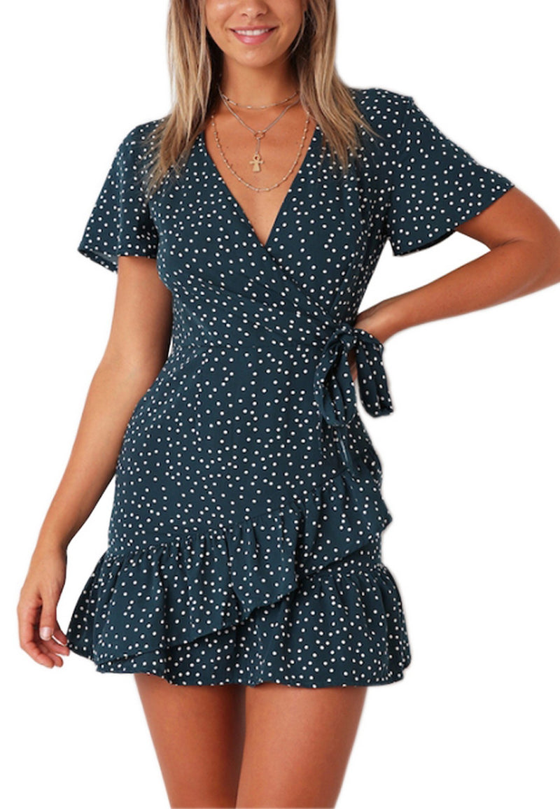Navy pinch WRAP mini Dress