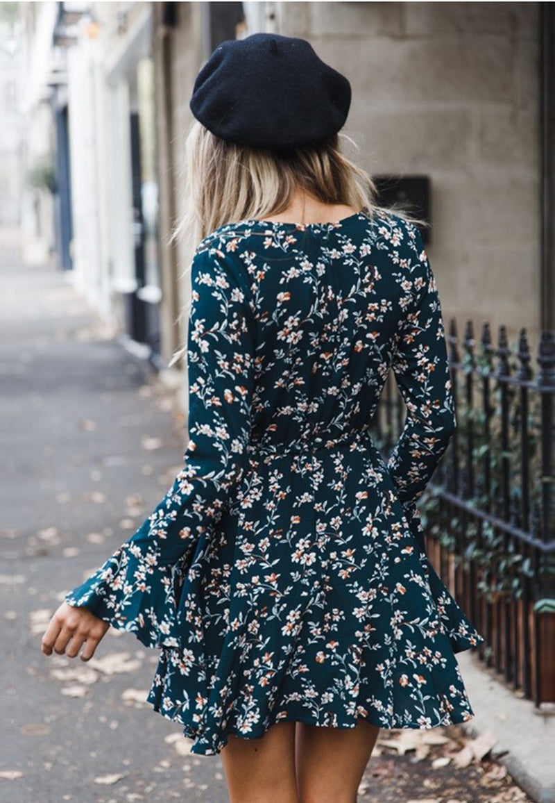 Dark Green floral mini Dress