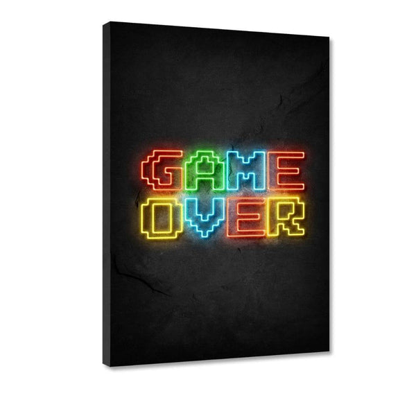 Game over - neon- Leinwandbild - Hustling Sharks