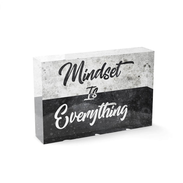 Mindset is Everything - Acrylglasblock 15x10 - Hustling Sharks