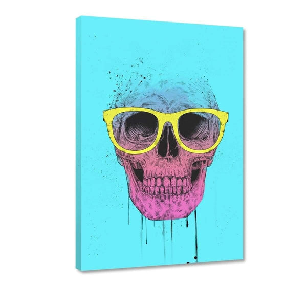 Pop Art Skull With Glasses - Leinwandbild - Hustling Sharks
