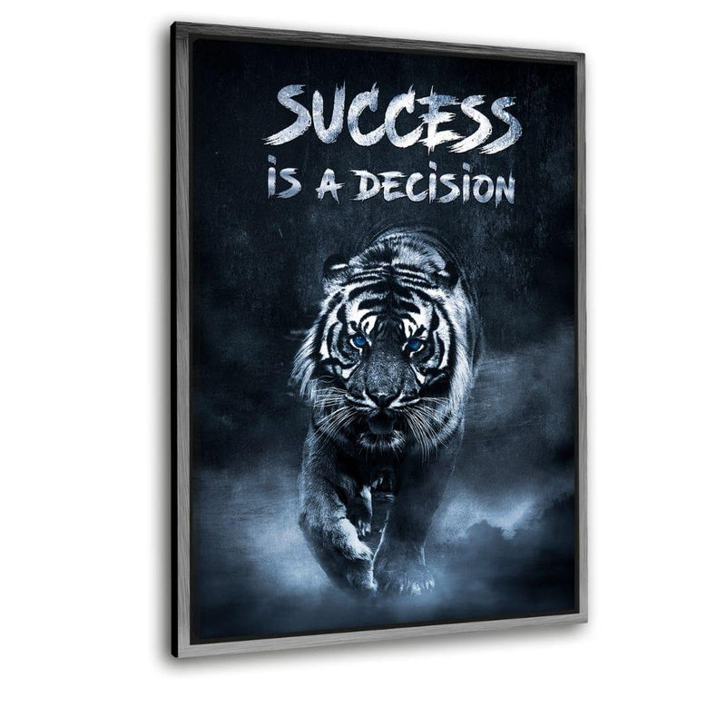 "Success is a decision! - Leinwaldbild mit Schattenfuge ""silber"" - Hustling Sharks"