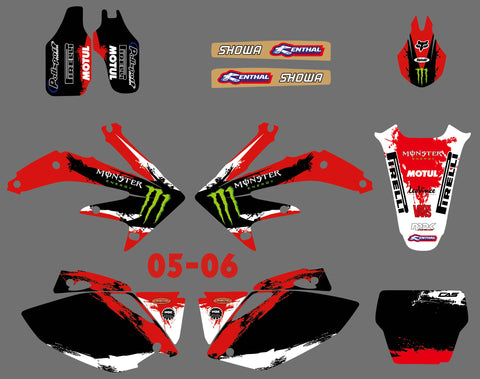 Kit Déco HONDA CRF 450 2005-2008 MONSTER RED