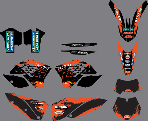 Kit déco KTM EXC EXC-F SX SX-F 2007-2011 FACTORY RACING