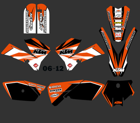 Kit déco KTM SX 85 2006-2012 SIMPLE ORANGE WHITE