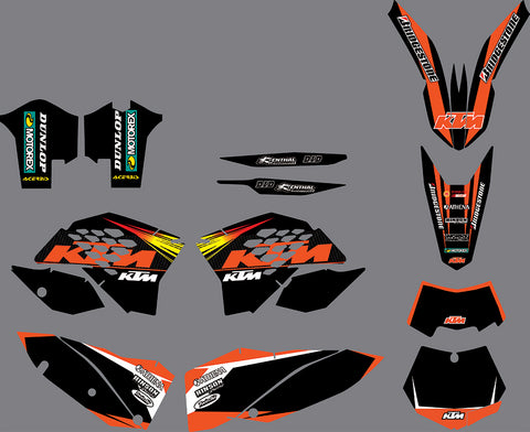 Kit déco KTM EXC EXC-F SX SX-F 2007-2011 BLACK SIMPLE
