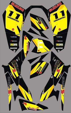Kit Déco SUZUKI LTZ 400 2009-2012 ORIGINE BLACK YELLOW (modèle injection)