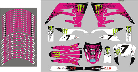 Kit Déco DERBI X-TREME RACING 2018-2020 PINK MONSTER