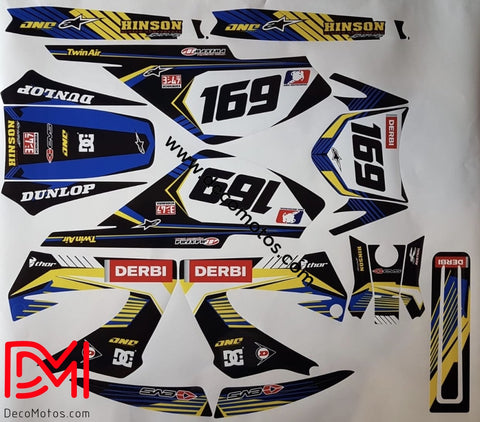Kit Déco Derbi Xtreme Xrace Avant 2011 Blue Yellow