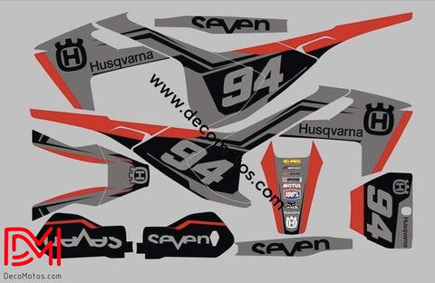 Kit Déco Husqvarna Fe / Fc Te Tc 2016-2018 Black And Red