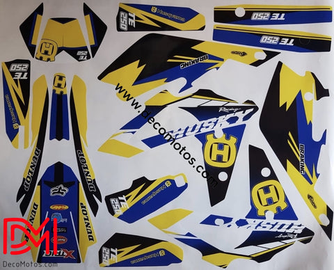 Kit Déco Husqvarna Sms / Wr Cr Te 450-510 Sm 2006-2013 Blue Yellow