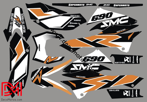 Kit Déco Ktm 690 Smcr 2012 Orange White