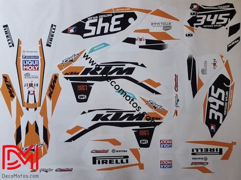 Kit Déco Ktm Exc 2014-2016 White Orange