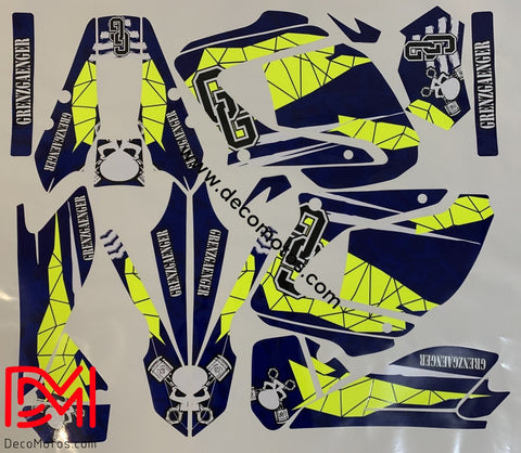 Kit Deco Yamaha Dtr Dtx 125 2004-2006 Bleu Jaune (Fluo En Option)