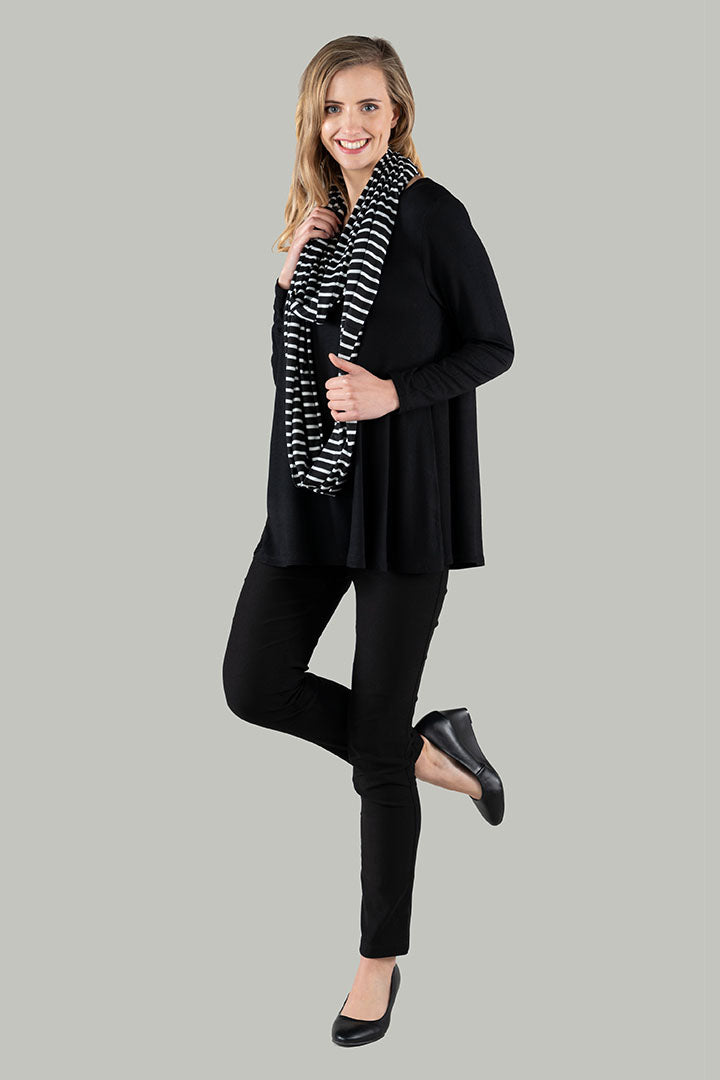 Lottie Stripe Loop Scarf - Black/White