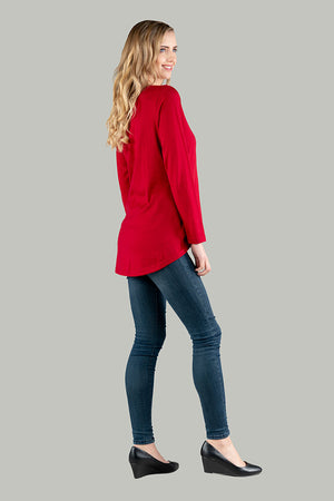 Maddy Merino Wool Hi-Low Top - Red