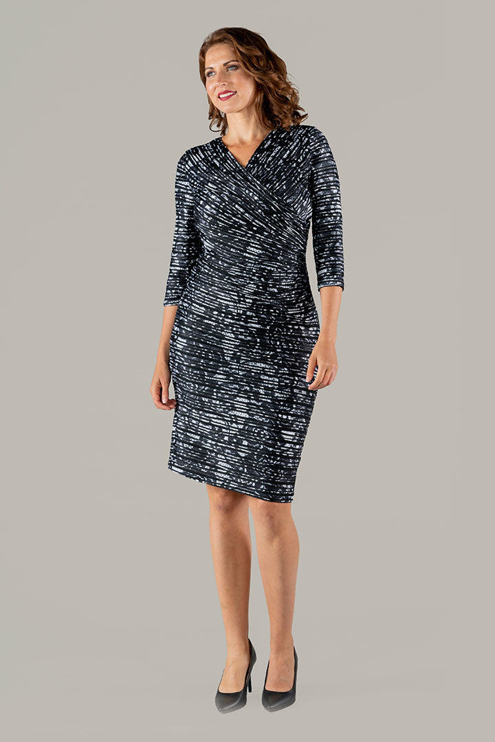 Luka Lace Impression Dress - Black/White