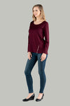 Macey Merino Wool Zipper Top - Wine