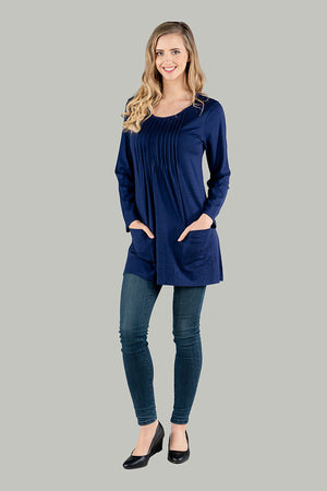 Melony Merino Wool Tunic - Navy