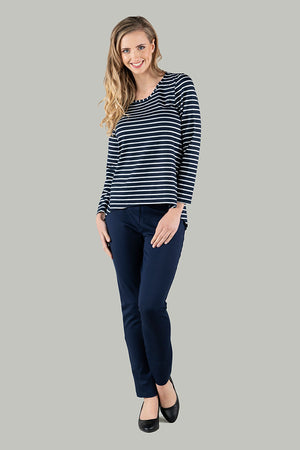Stevie Stripe Dipped Hem Top - Navy/White