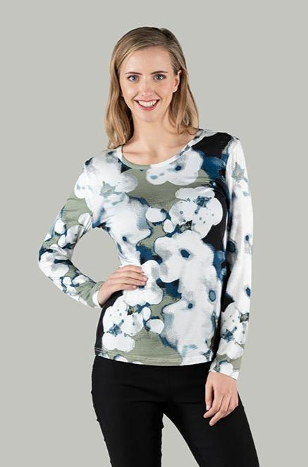 Polly Printed Top - Moss