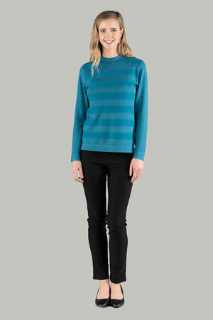 Stella Stripe Knit Pull Over - Teal
