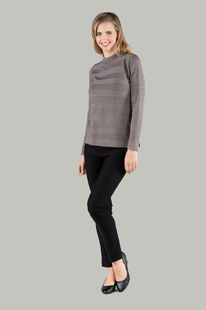 Stella Stripe Knit Pull Over - Mocha