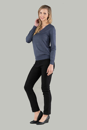 Viola V-Neck Pull Over - Steel