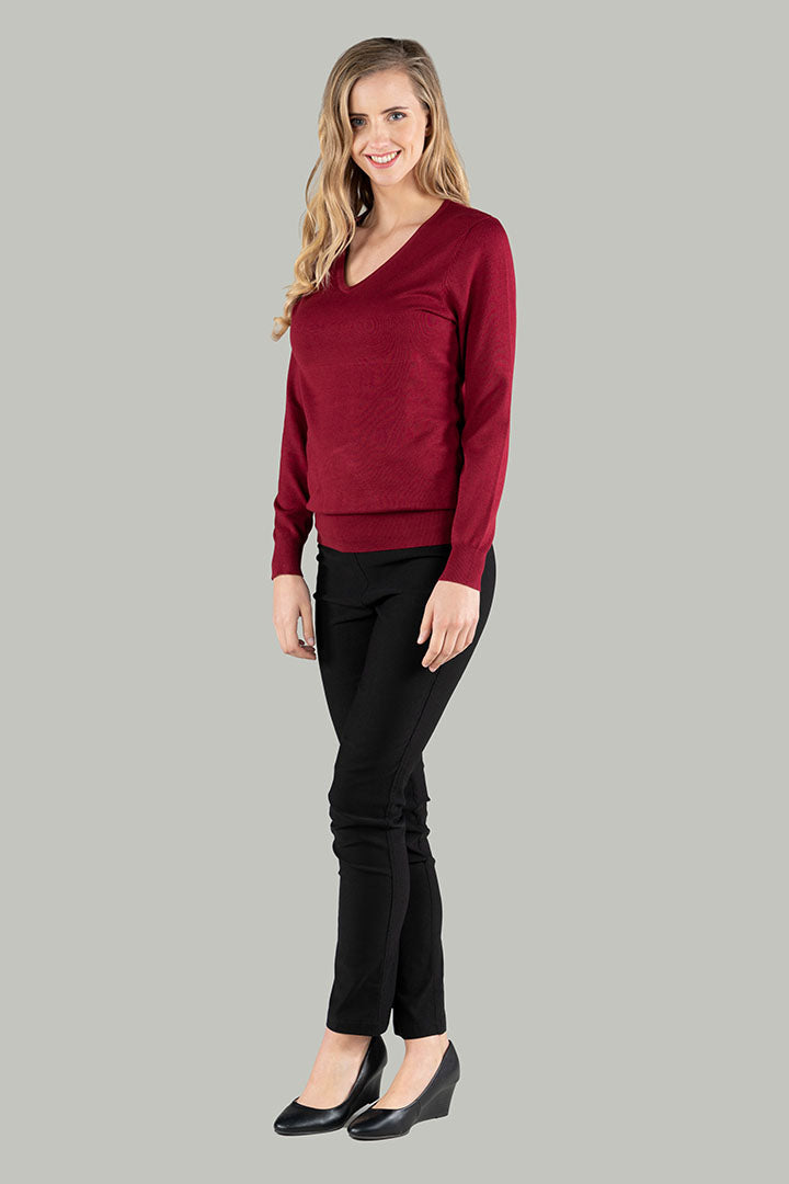 Viola V-Neck Pull Over - Burgundy