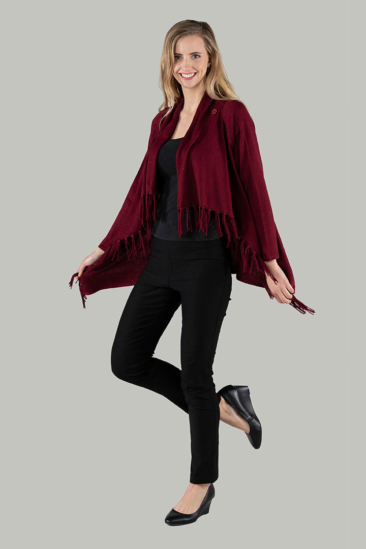 Two Way Wool Wrap - Burgundy