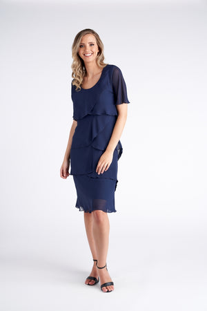 Vivid Layer Dress - Navy
