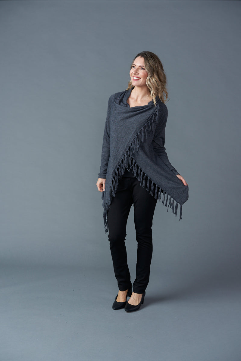 Two Way Wool Wrap - Charcoal