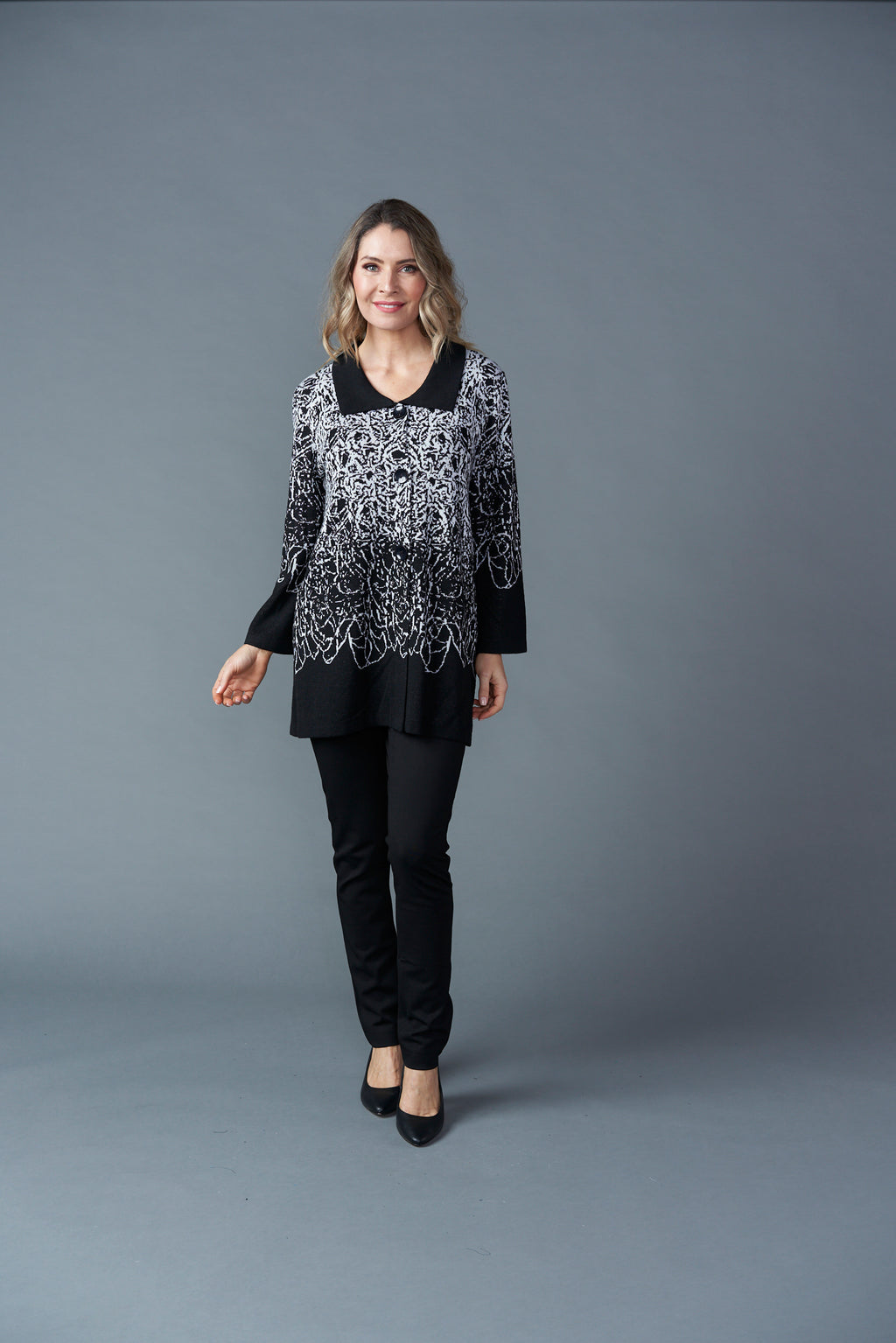 Button Up Knit Cardie - Black & White