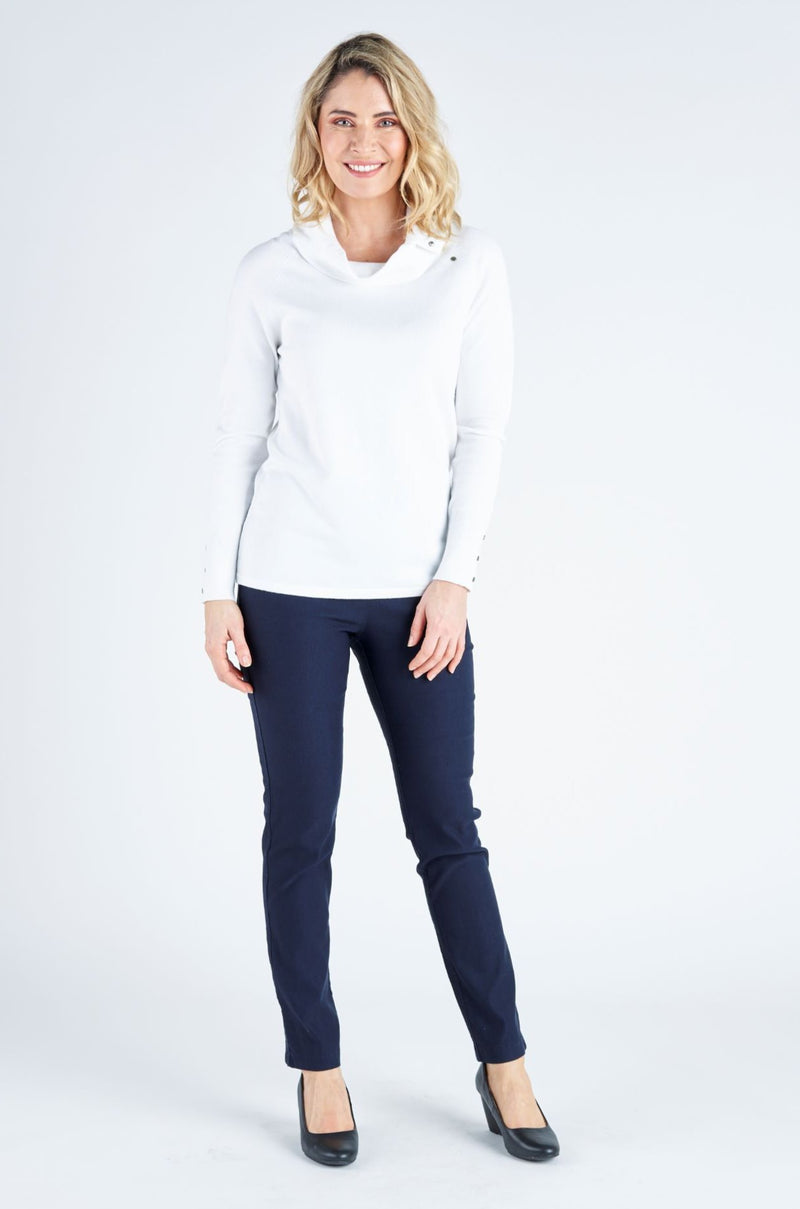 Cara Classic Viscose Pull Over - White