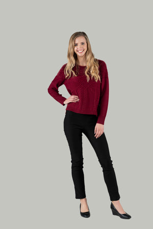 Burgundy Fluffy and Knit Pullover