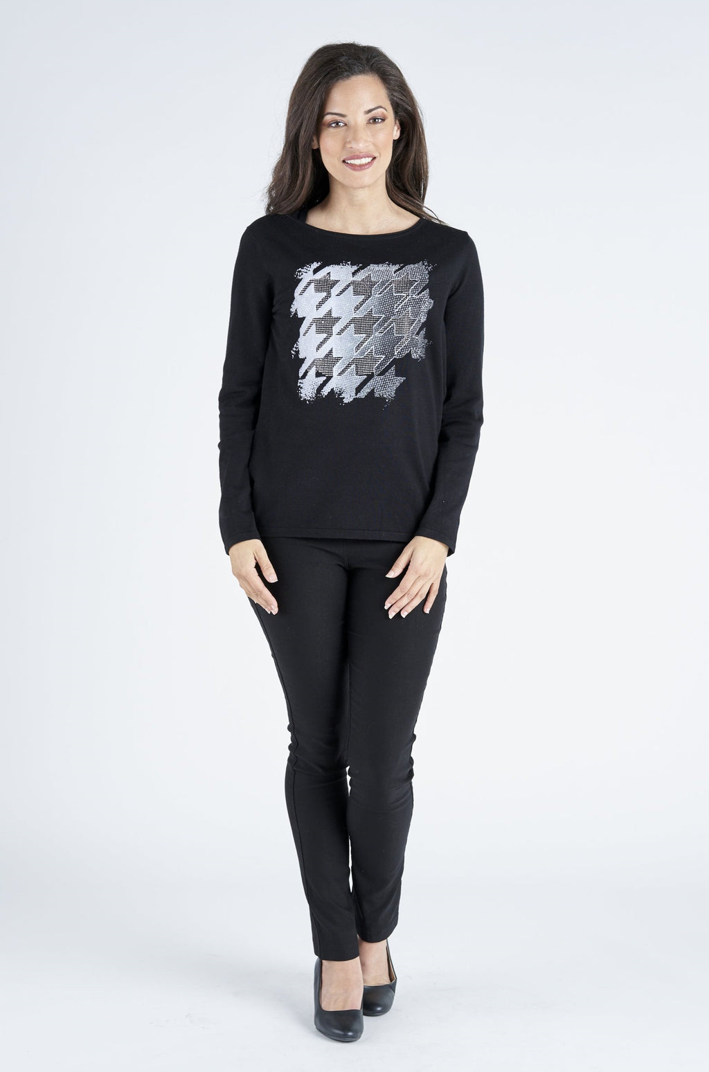 Houndstooth Viscose Knit - Black