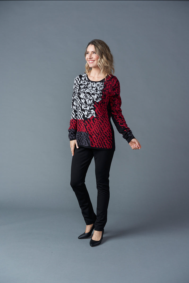 Knit Top - Red Print
