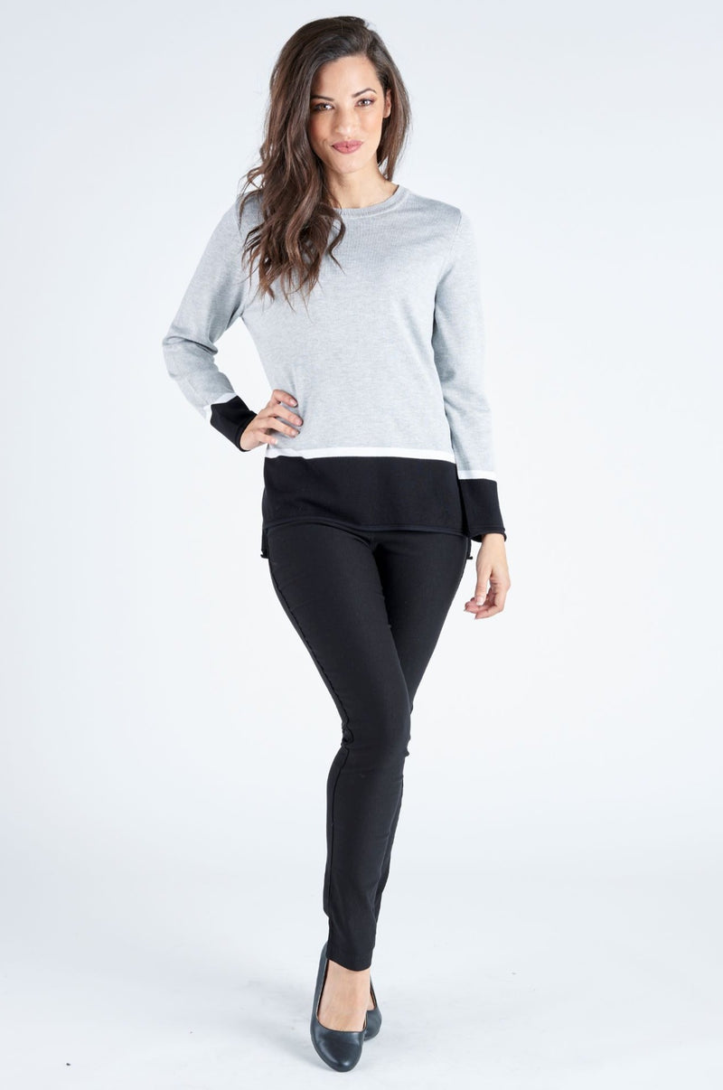 Camila Contrast Knit Top - Silver/Black