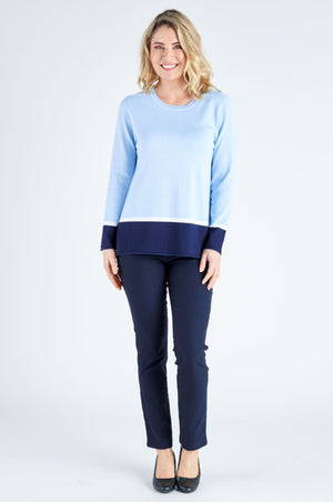 Camila Contrast Knit Top - Cornflower/Navy