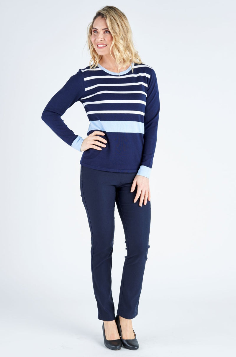 Serenity Stripe Knit Top - Cornflower/Navy
