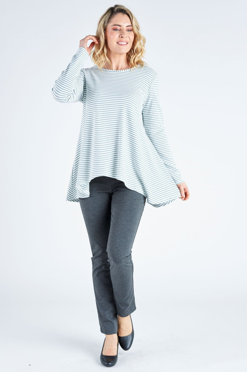 Lillian Curved Hem Stripe Top