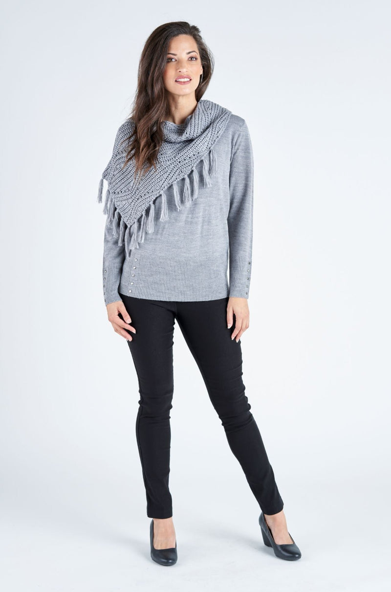 Oscar Snood Overlay Jumper - Charcoal