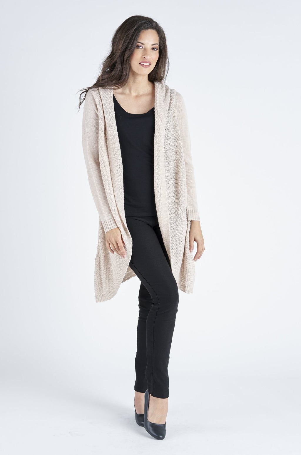 Casey Curved Wool Mix Cardigan