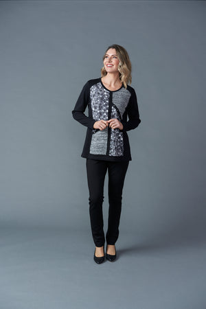 Patch Print Top - Black