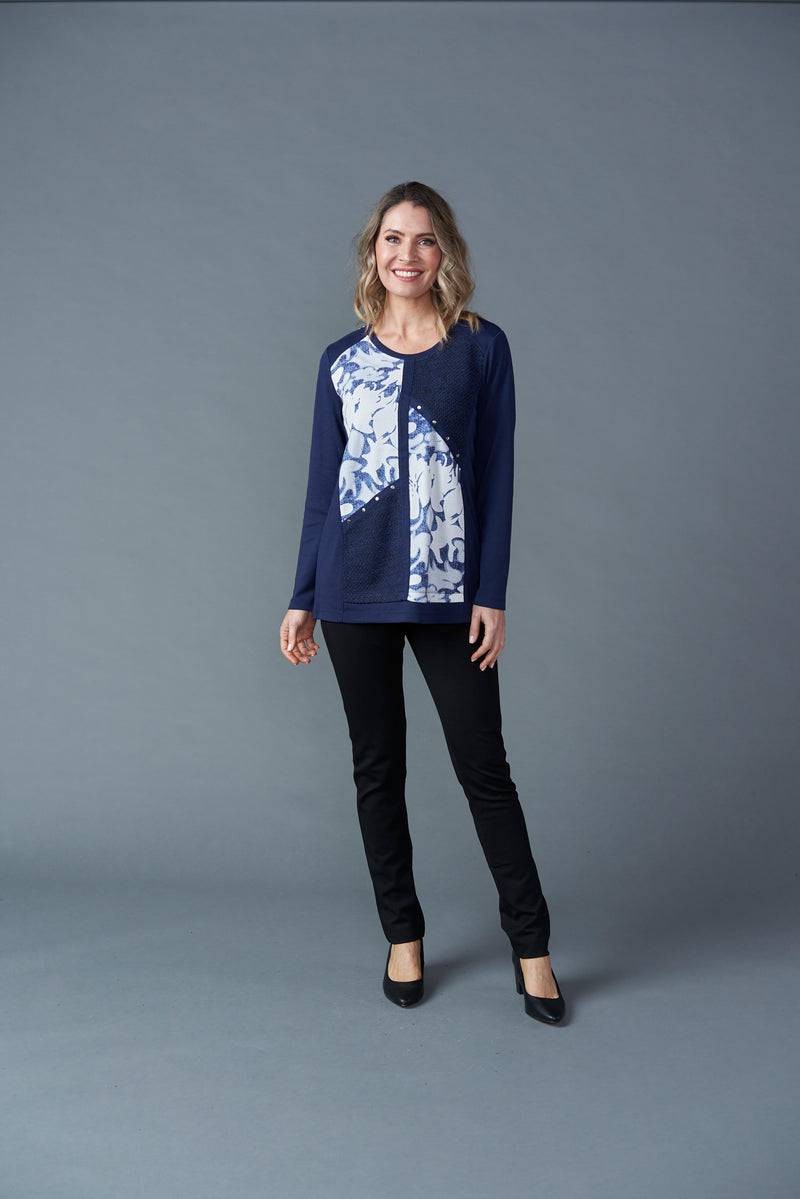 Patch Print Top - Navy