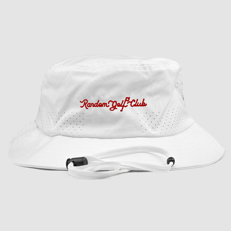 RGC Script Bucket Hat (White/Red)