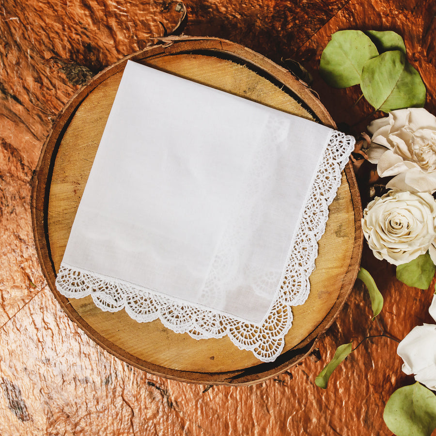 Scallop Cluny Lace Wedding Handkerchief